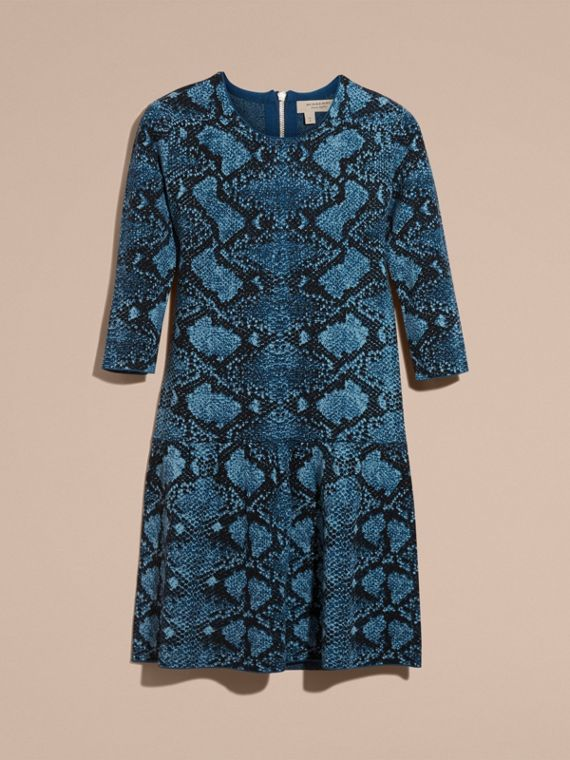 Mineral blue Python Jacquard Merino Wool Dress - cell image 3