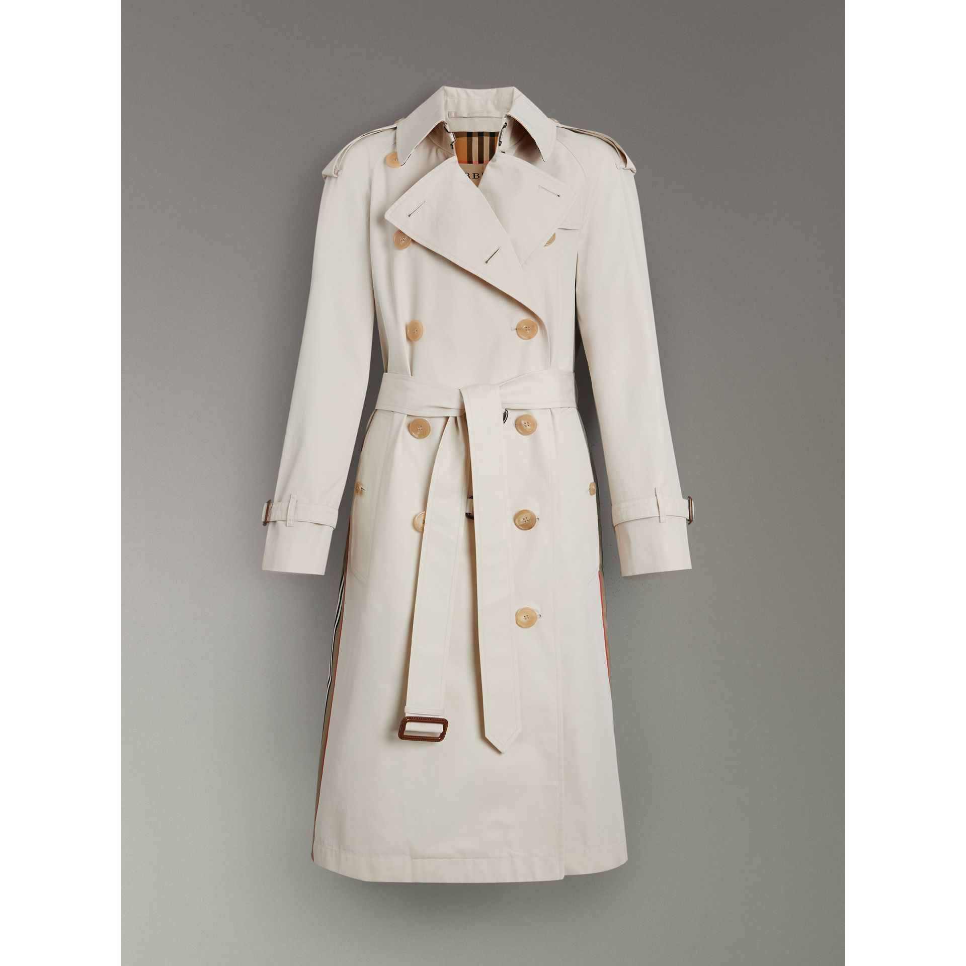 Striped Ribbon Cotton Gabardine Trench Coat in Stone - Women | Burberry - gallery image 3