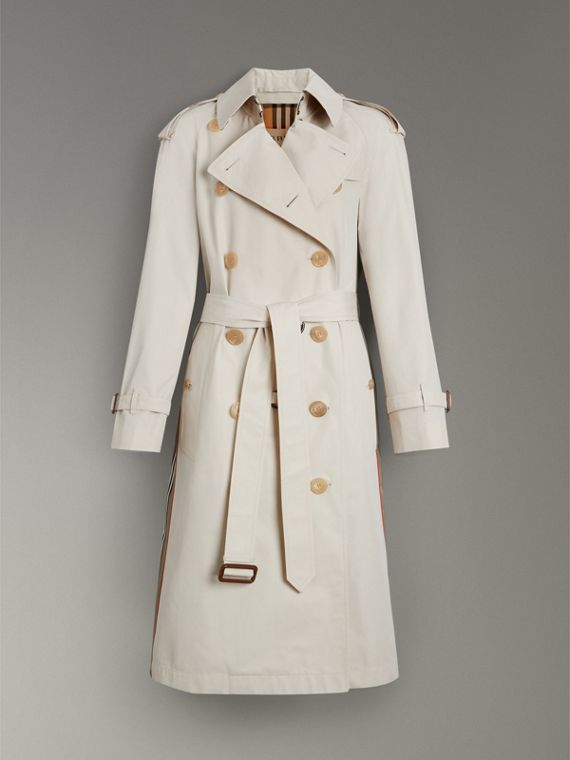 Heritage Stripe Cotton Gabardine Trench Coat in Stone - Women | Burberry - cell image 3