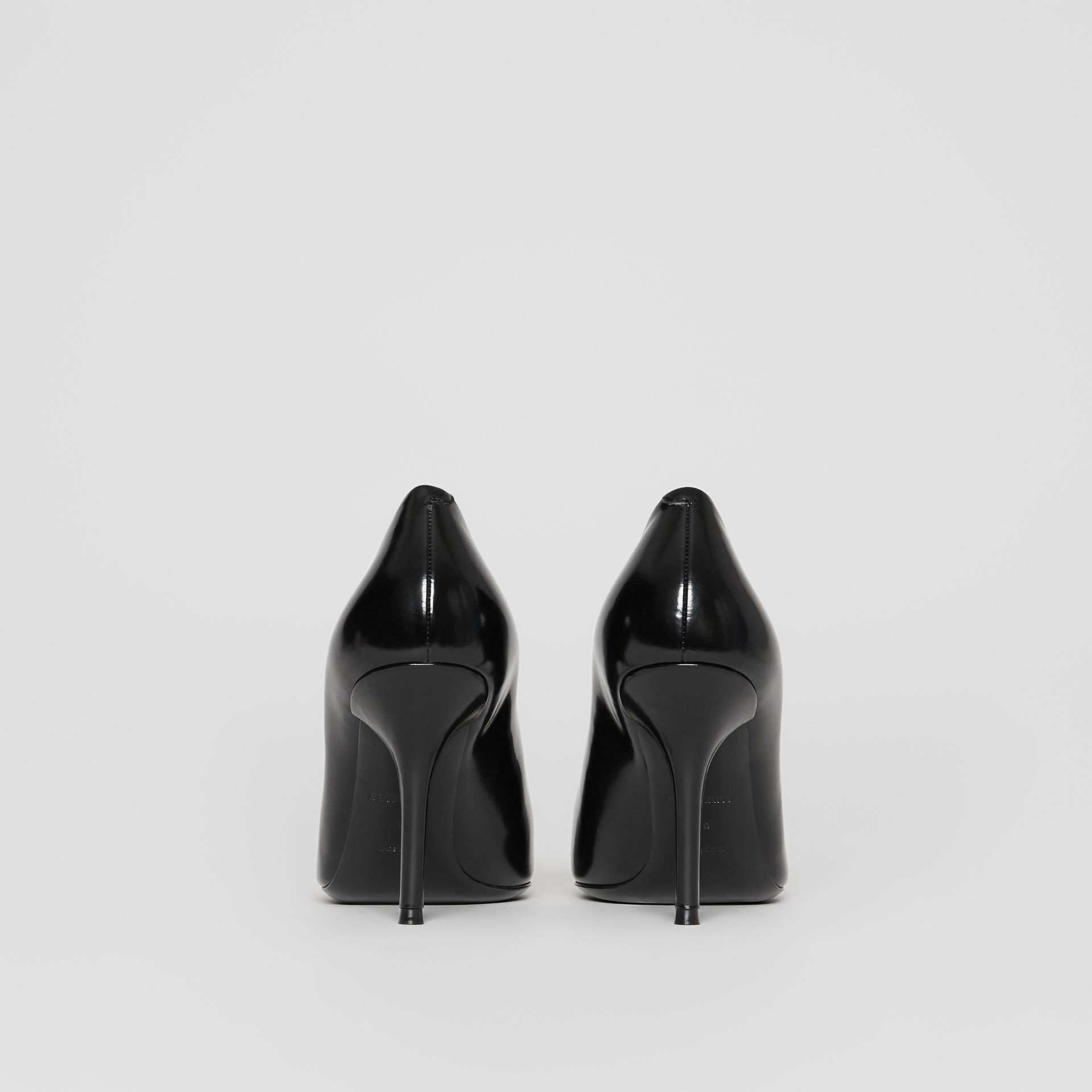 Tape Detail Leather Pumps in Black/optic White - Women | Burberry - gallery image 3
