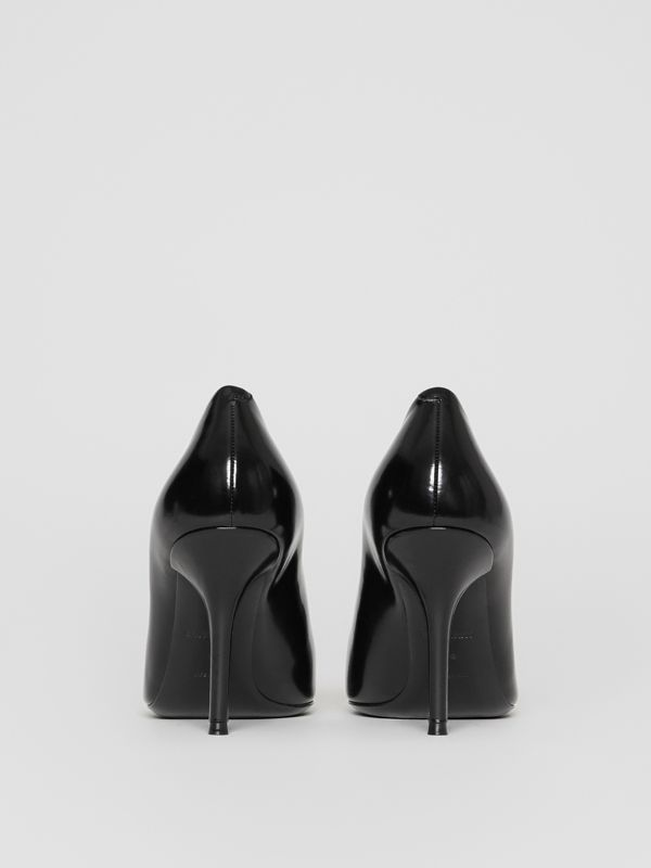 Tape Detail Leather Pumps in Black/optic White - Women | Burberry - cell image 3