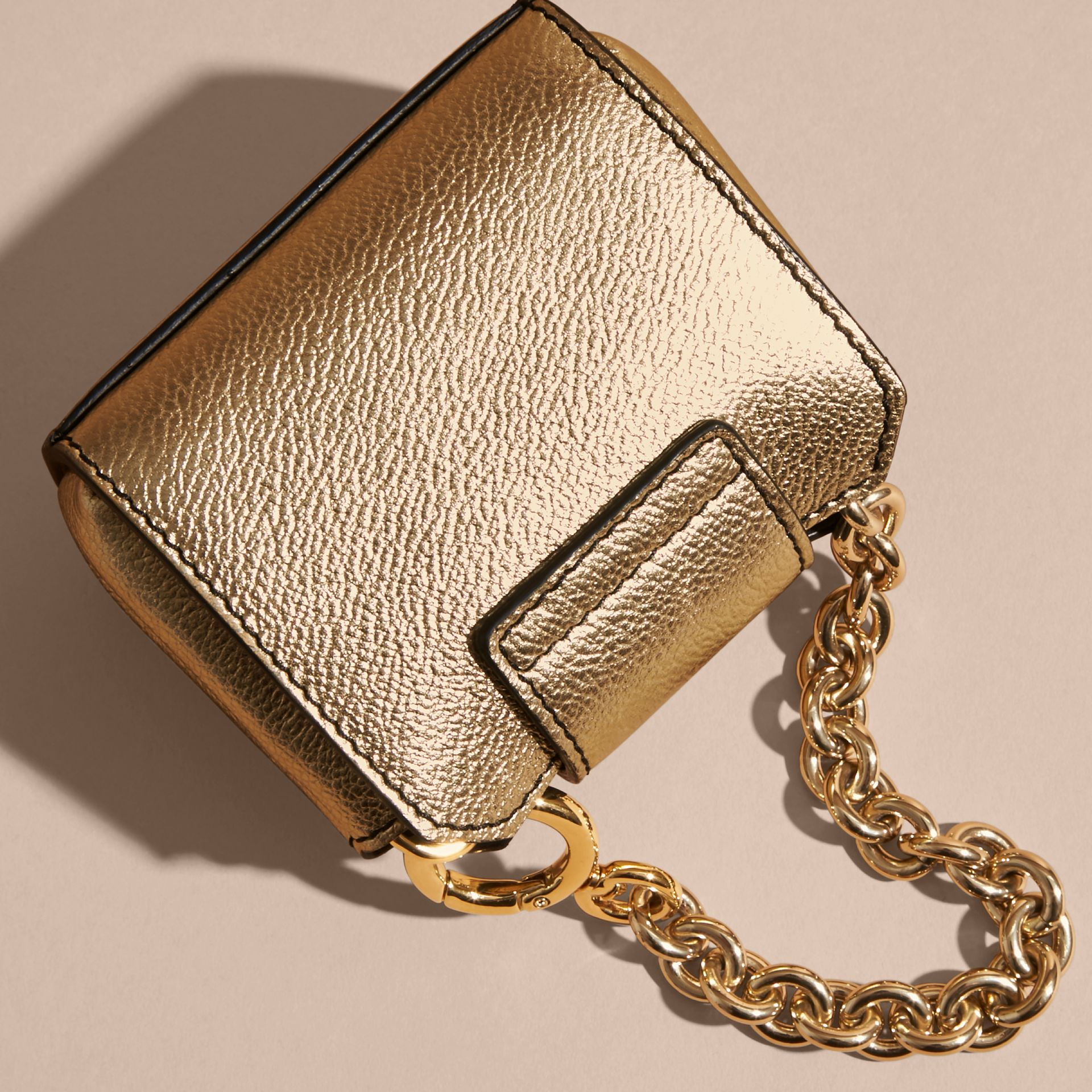 Gold The Mini Buckle Tote Charm in Metallic Leather Gold - gallery image 4