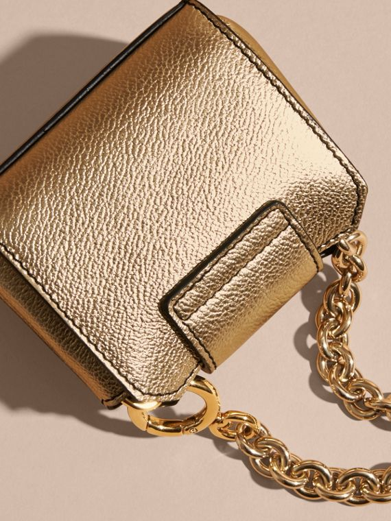 Gold The Mini Buckle Tote Charm in Metallic Leather Gold - cell image 3