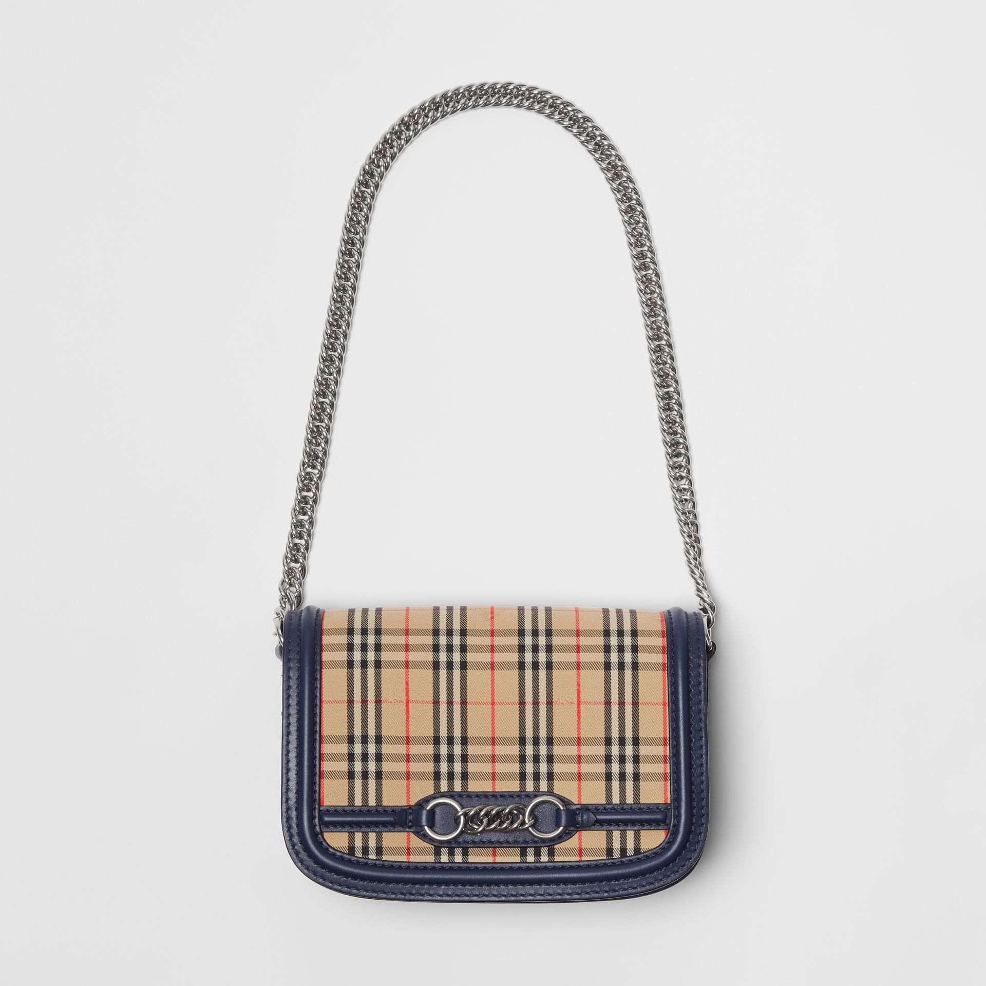 The 1983 Check Link Bag with Leather Trim in Ink Blue - Women | Burberry United Kingdom - gallery image 4