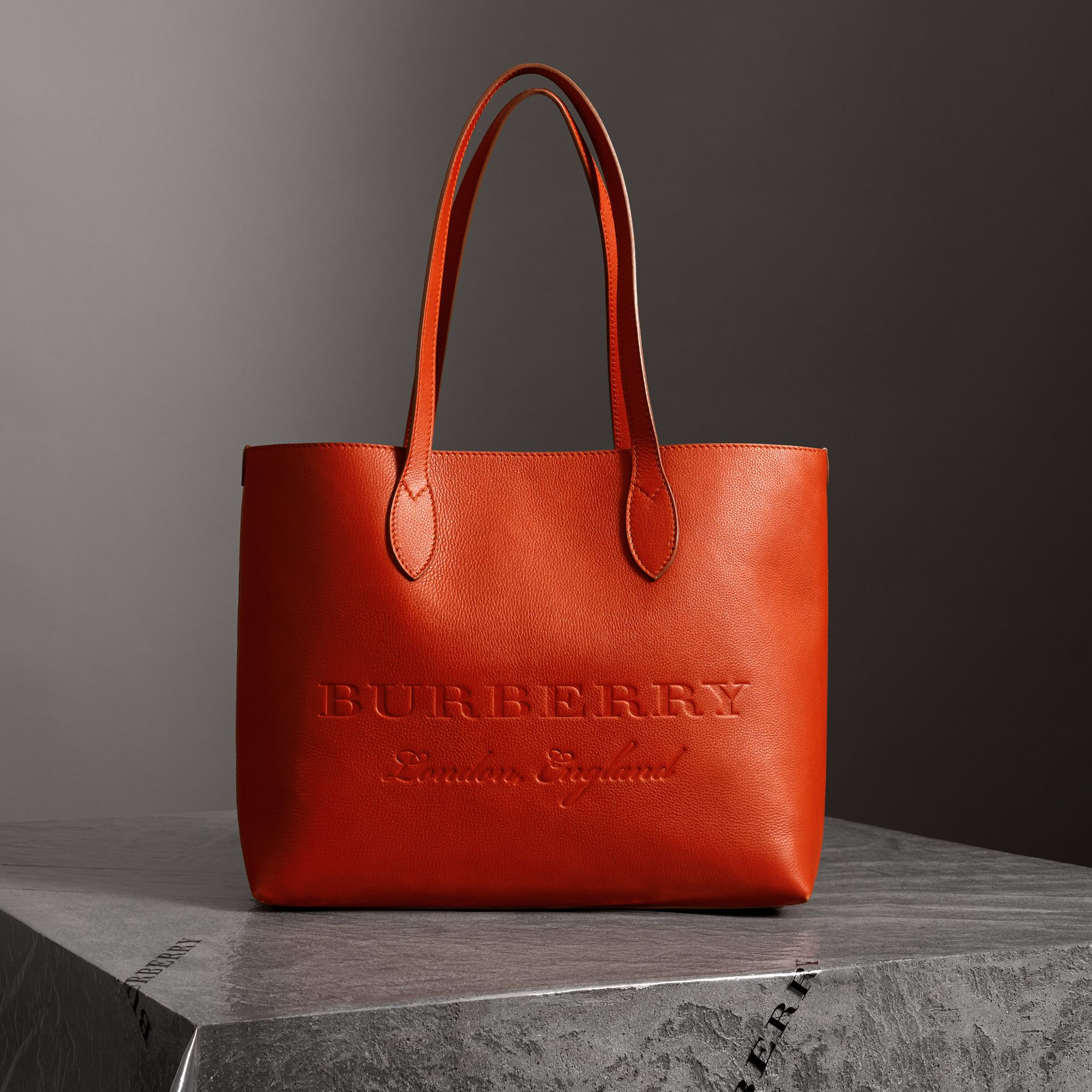 Embossed Leather Tote in Dark Clementine | Burberry - gallery image 0