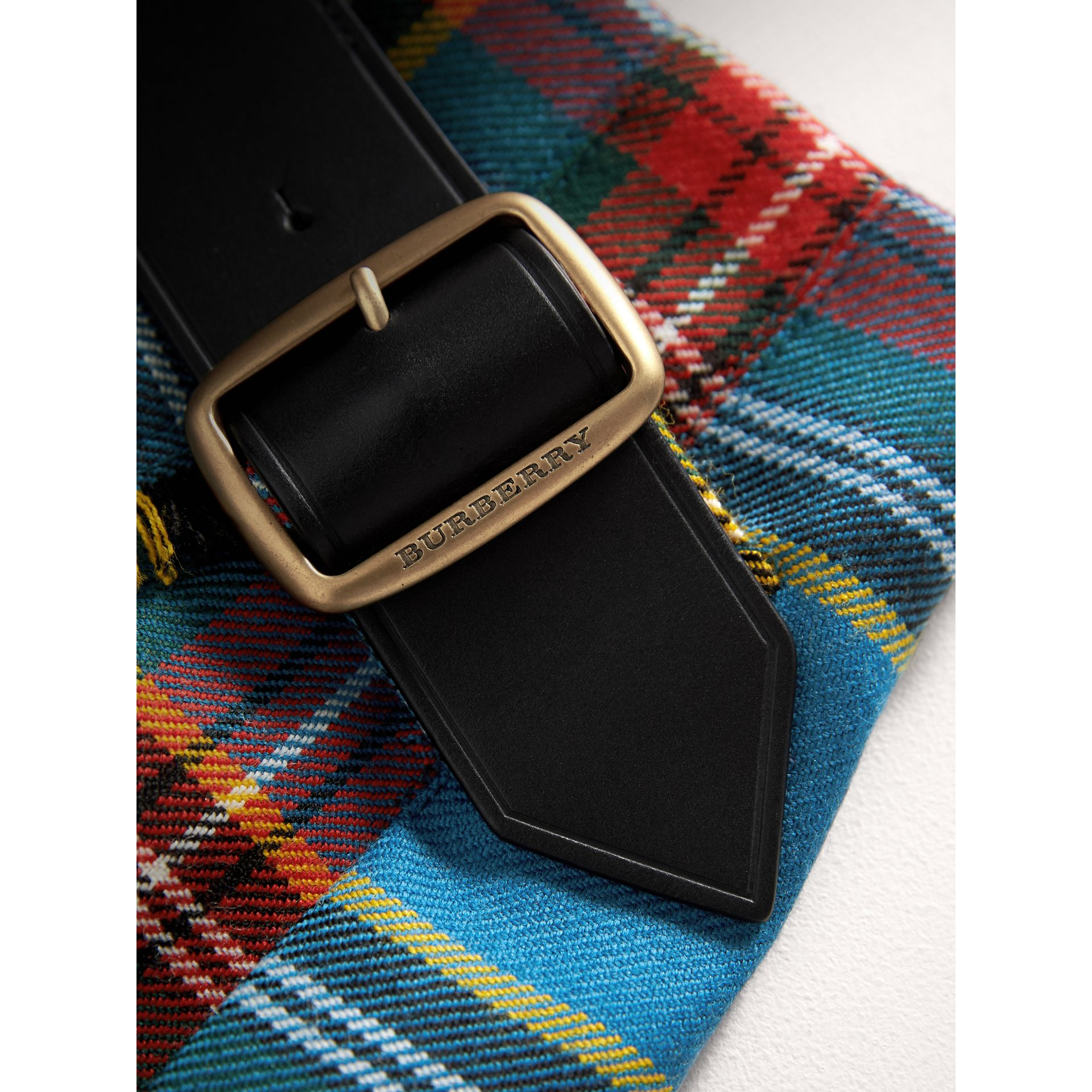 Raw Edge Detail Tartan Wool Kilt in Cyan Blue | Burberry - gallery image 1