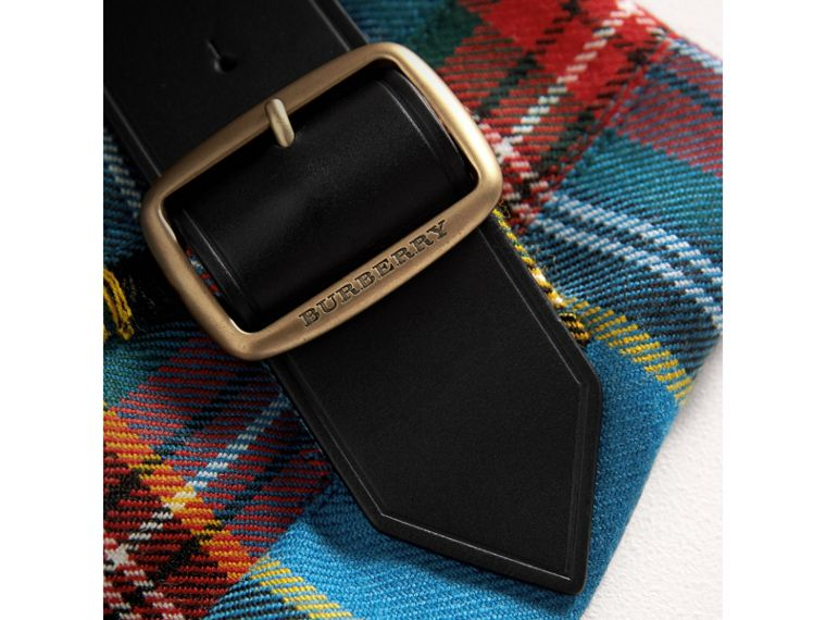 Raw Edge Detail Tartan Wool Kilt in Cyan Blue | Burberry - cell image 1