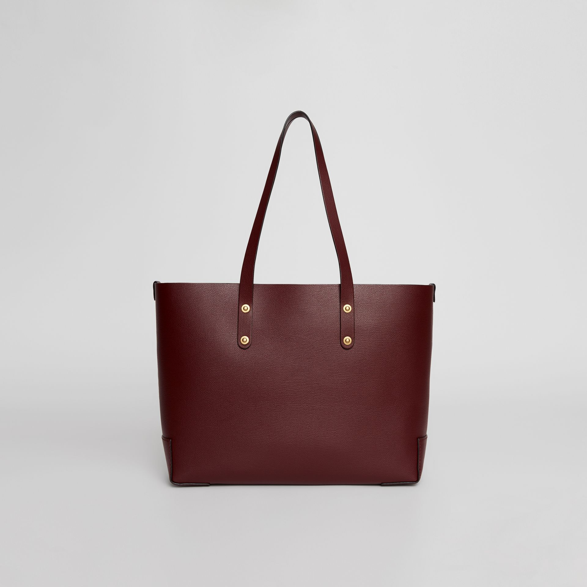 Small Embossed Crest Leather Tote in Burgundy | Burberry Australia - gallery image 8