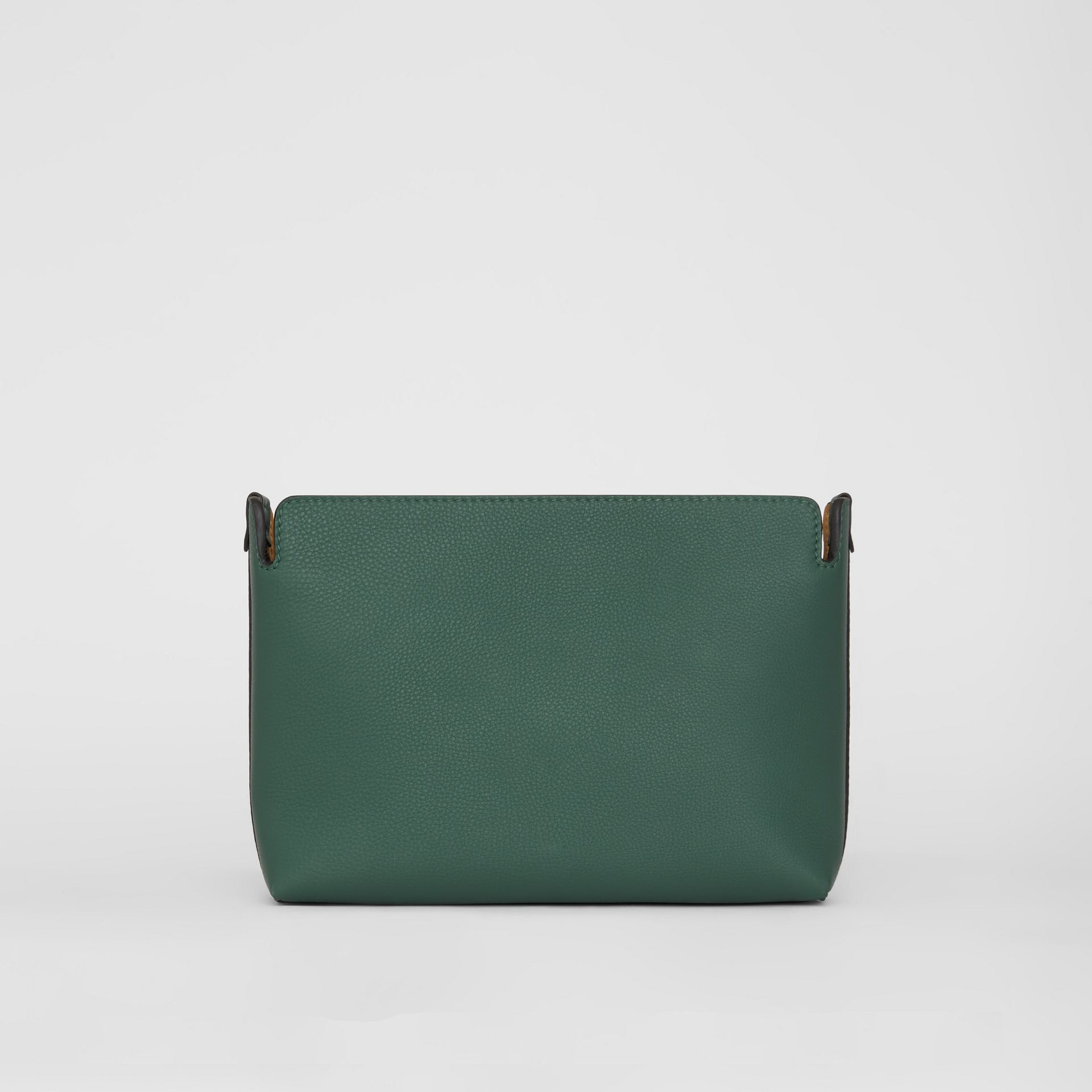 Medium Tri-tone Leather Clutch in Black/sea Green | Burberry - gallery image 7