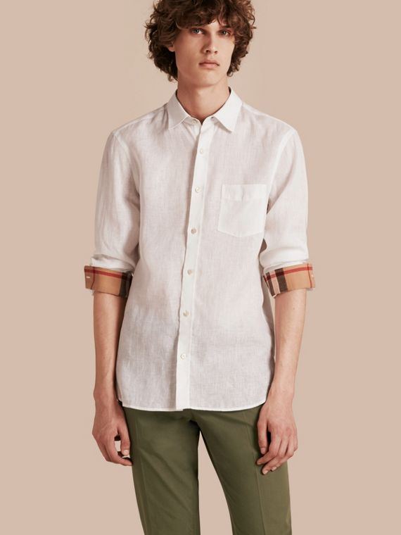 Check Detail Linen Shirt White