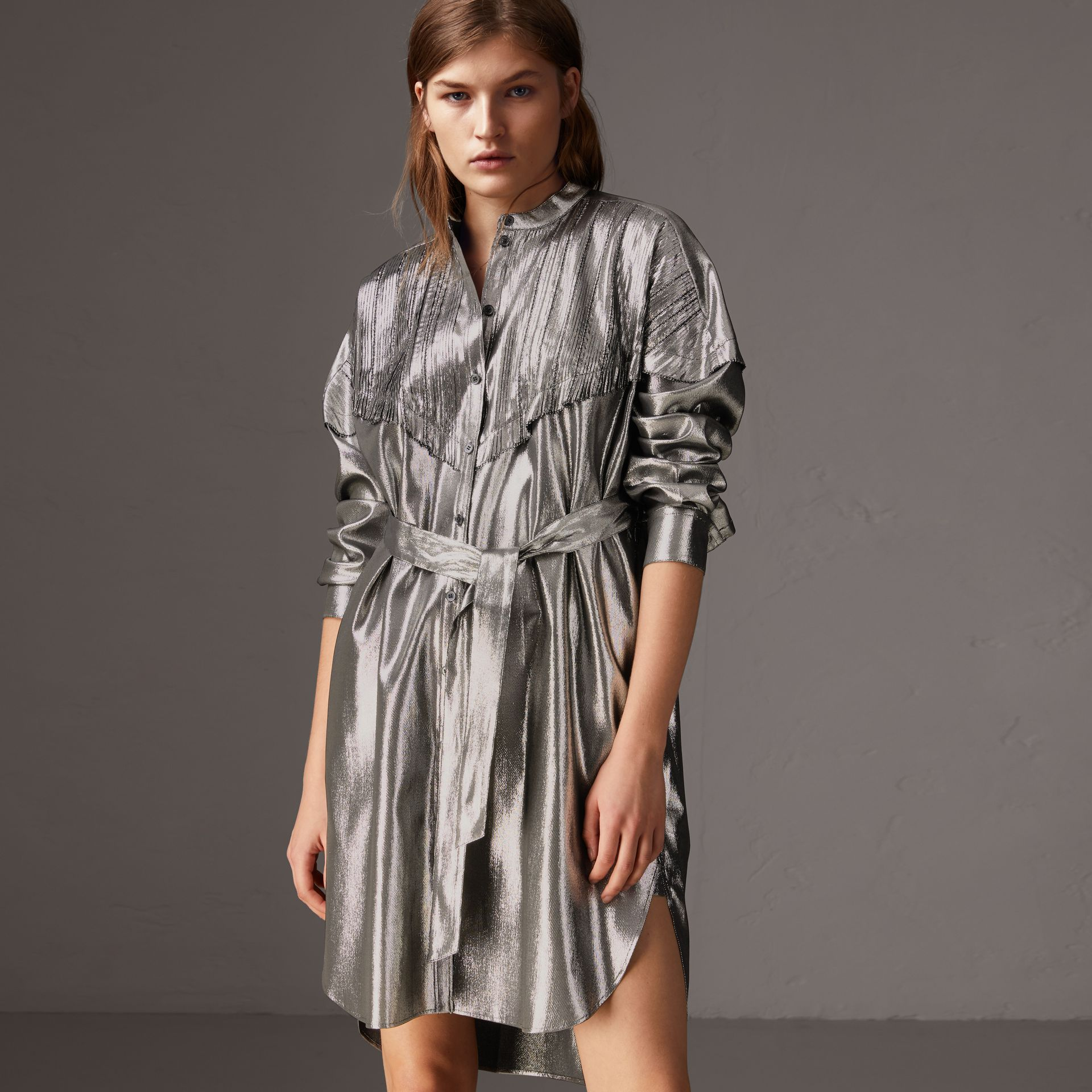 Pintuck Detail Silk Lamé Shirt Dress in Silver - Women | Burberry - gallery image 0