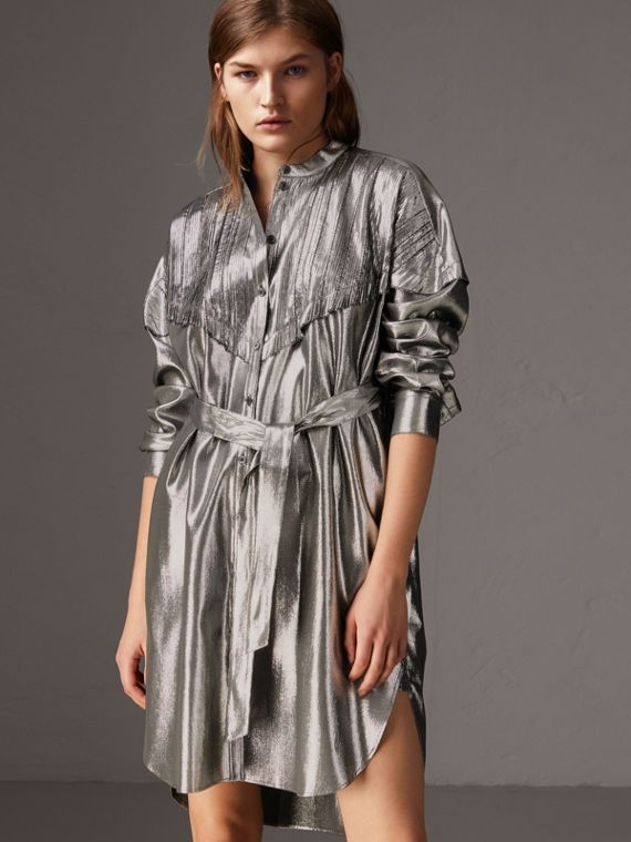 Pintuck Detail Silk Lamé Shirt Dress in Silver