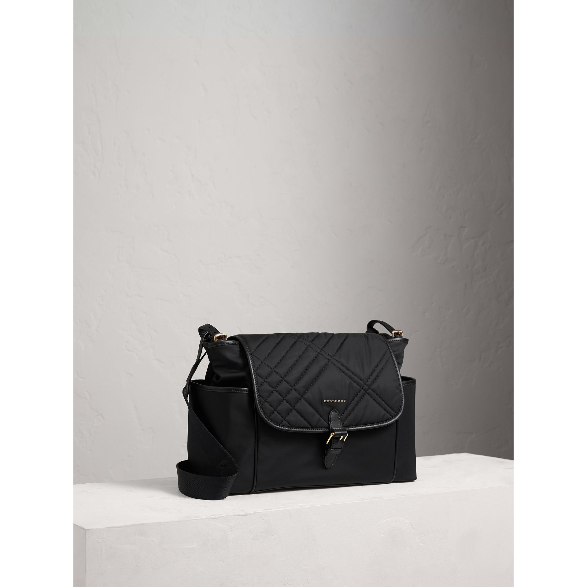 Check-quilted Baby Changing Shoulder Bag in Black | Burberry Canada - gallery image 5