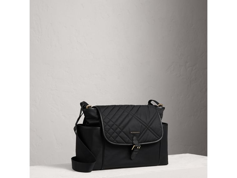 Check-quilted Baby Changing Shoulder Bag in Black | Burberry Canada - cell image 4