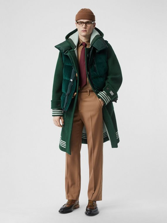 Stripe Detail Double-faced Wool Duffle Coat in Dark Pine Green