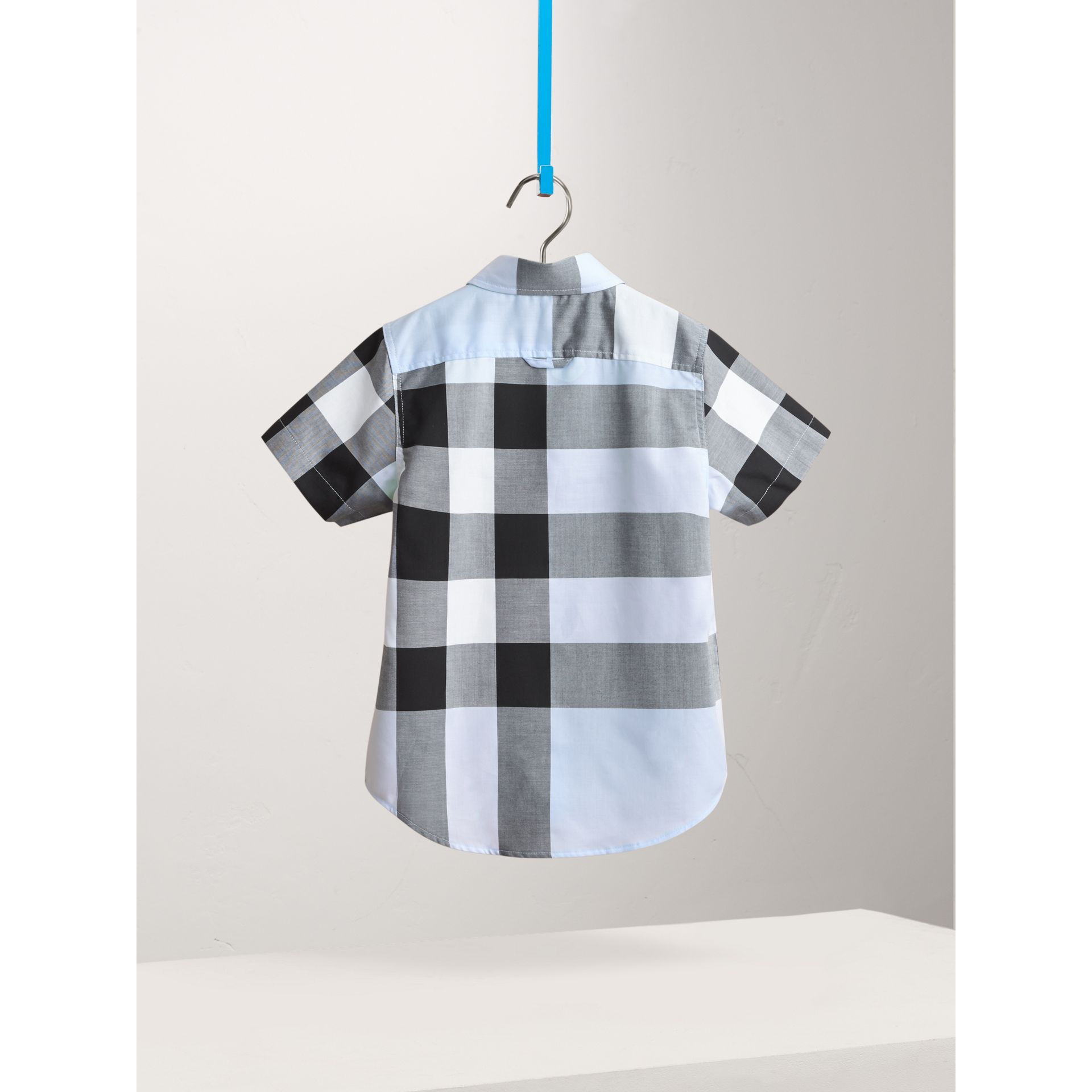 Short-sleeve Check Cotton Shirt in Sky Blue - Boy | Burberry Hong Kong - gallery image 2