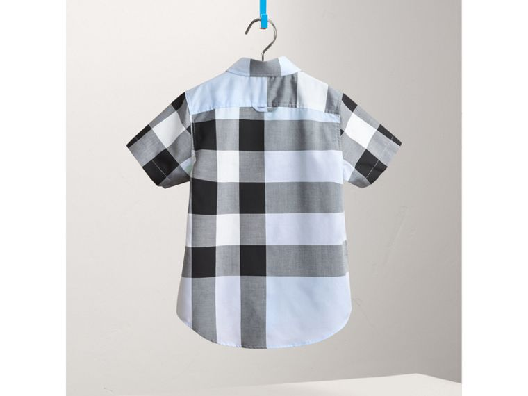 Short-sleeve Check Cotton Shirt in Sky Blue - Boy | Burberry Hong Kong - cell image 1