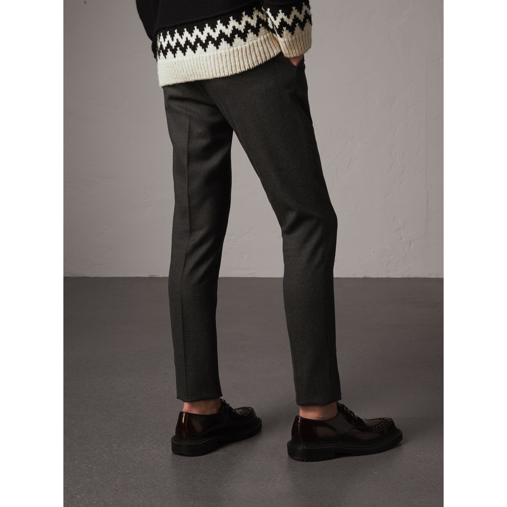 Wool Tailored Trousers in Dark Grey Melange - Men | Burberry Canada - gallery image 3