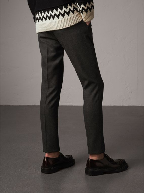 Wool Tailored Trousers in Dark Grey Melange - Men | Burberry - cell image 2