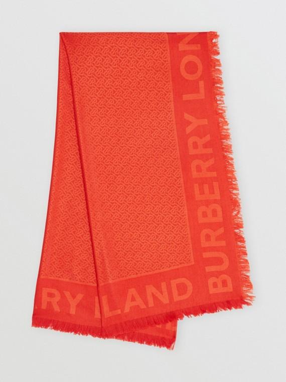 花押字絲綢羊毛提花大型方巾 (朱紅色)