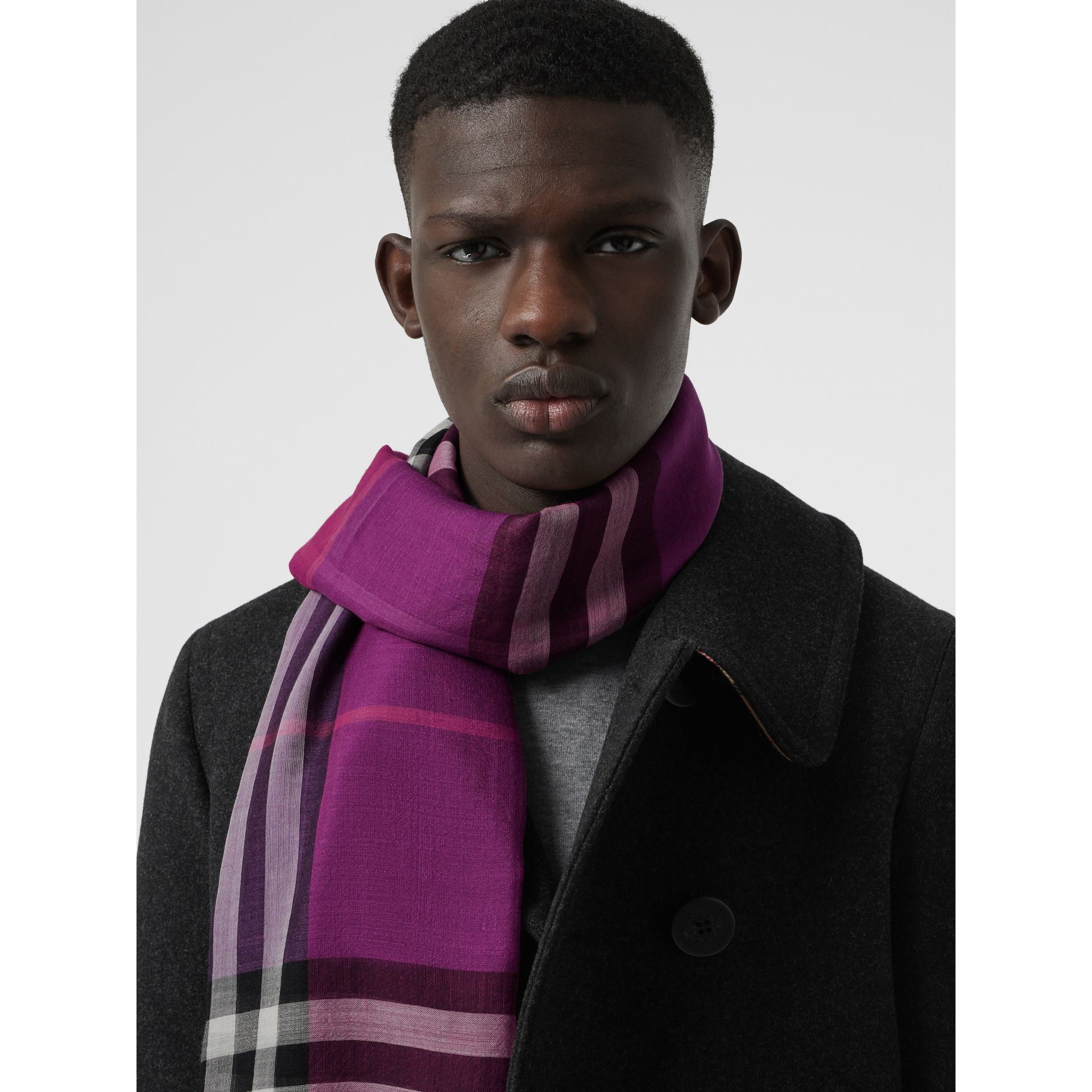 Colour Block Check Wool Silk Scarf in Bright Plum | Burberry - gallery image 6