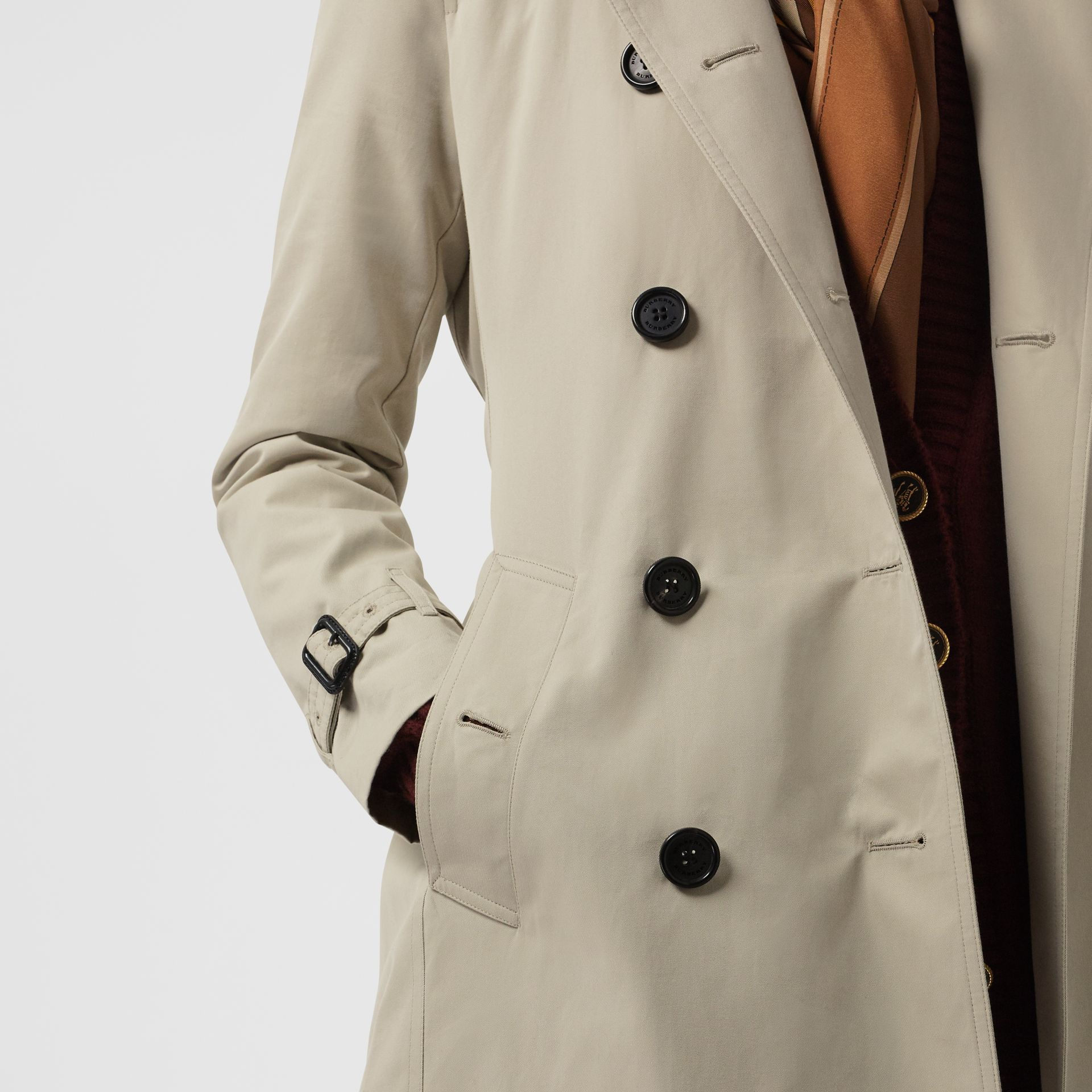 Kensington Fit Cotton Gabardine Trench Coat in Stone - Women | Burberry - gallery image 4