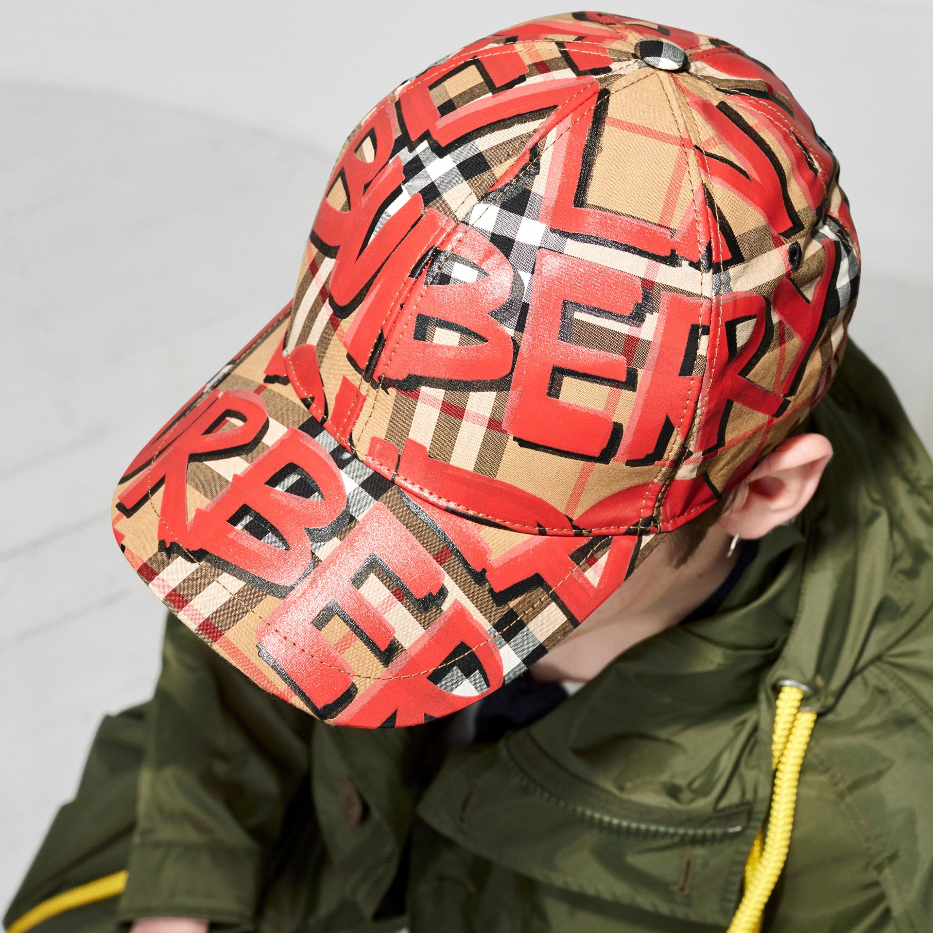 Graffiti Print Vintage Check Baseball Cap in Red | Burberry - gallery image 5