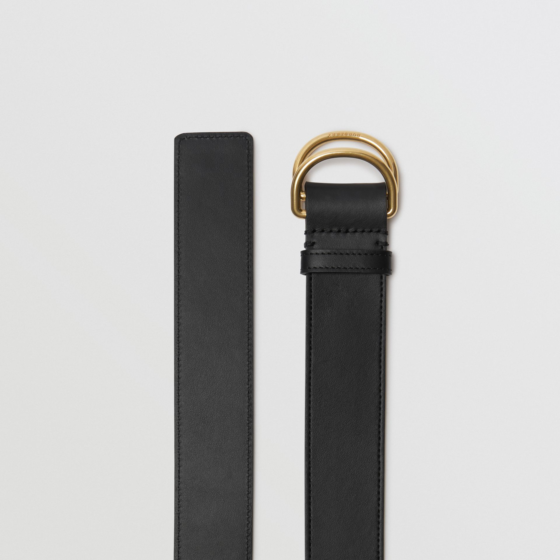 Leather Double D-ring Belt in Black/lemon Quartz - Women | Burberry - gallery image 4