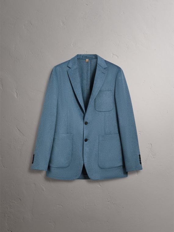 Soho Fit Lightweight Cashmere Tailored Jacket in Slate Blue Melange - Men | Burberry United Kingdom - cell image 3