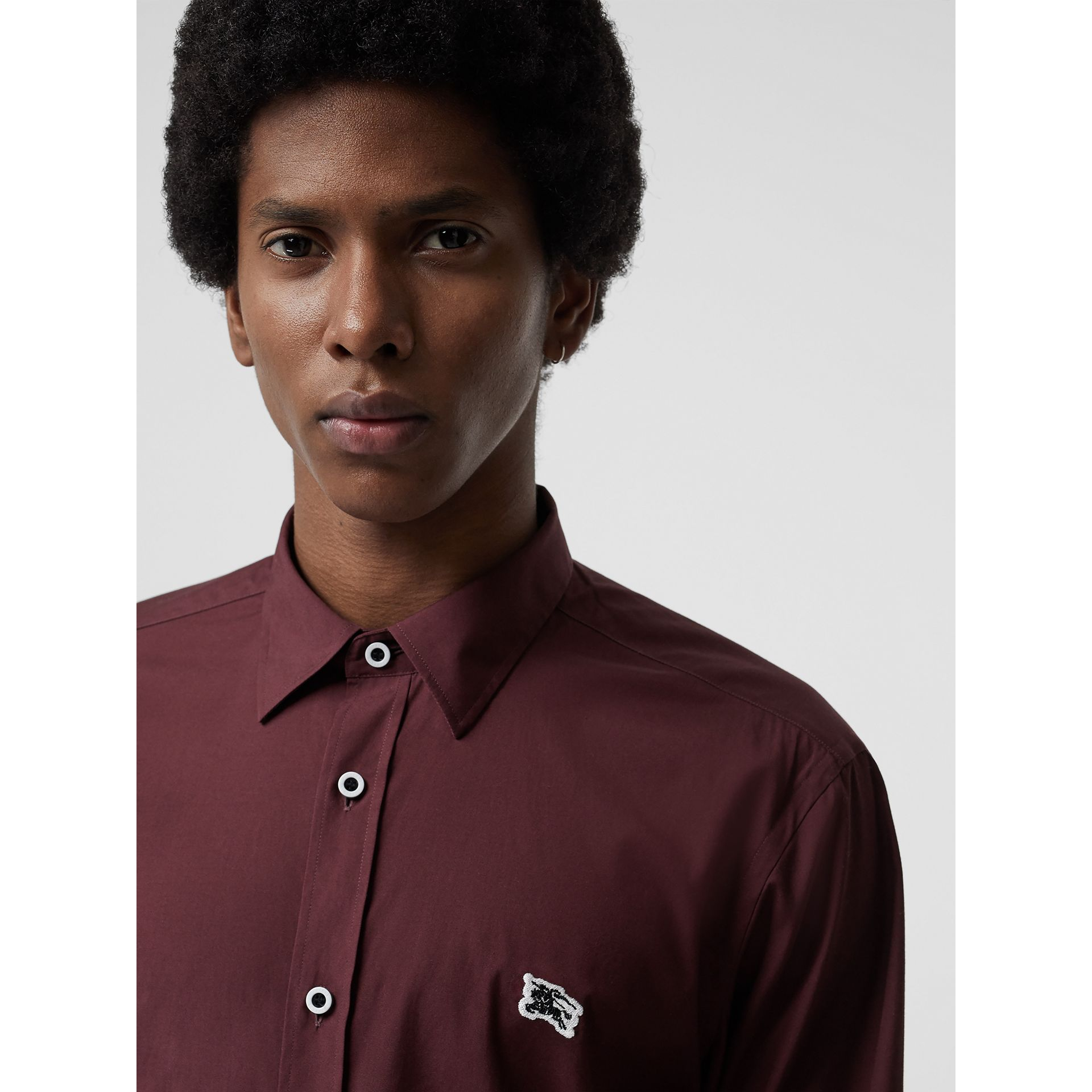Contrast Button Stretch Cotton Shirt in Oxblood - Men | Burberry - gallery image 1