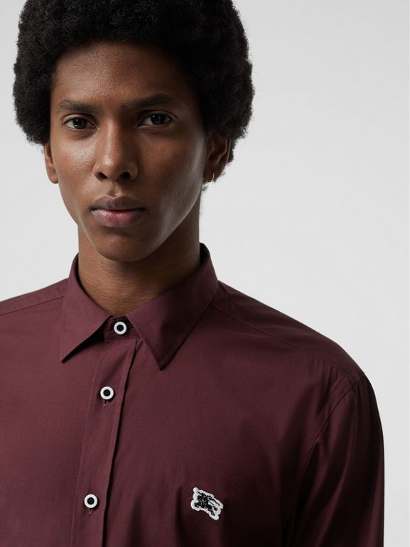 Contrast Button Stretch Cotton Shirt in Oxblood - Men | Burberry United Kingdom - cell image 1