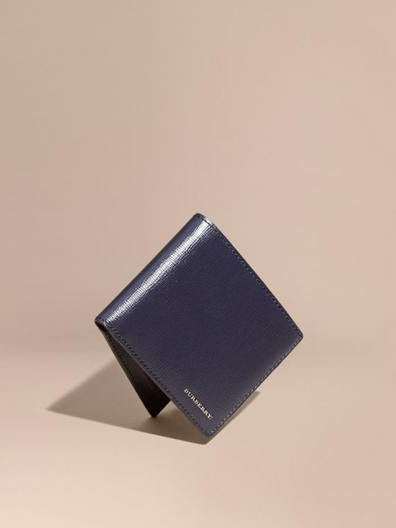 London Leather Folding Wallet Dark Navy