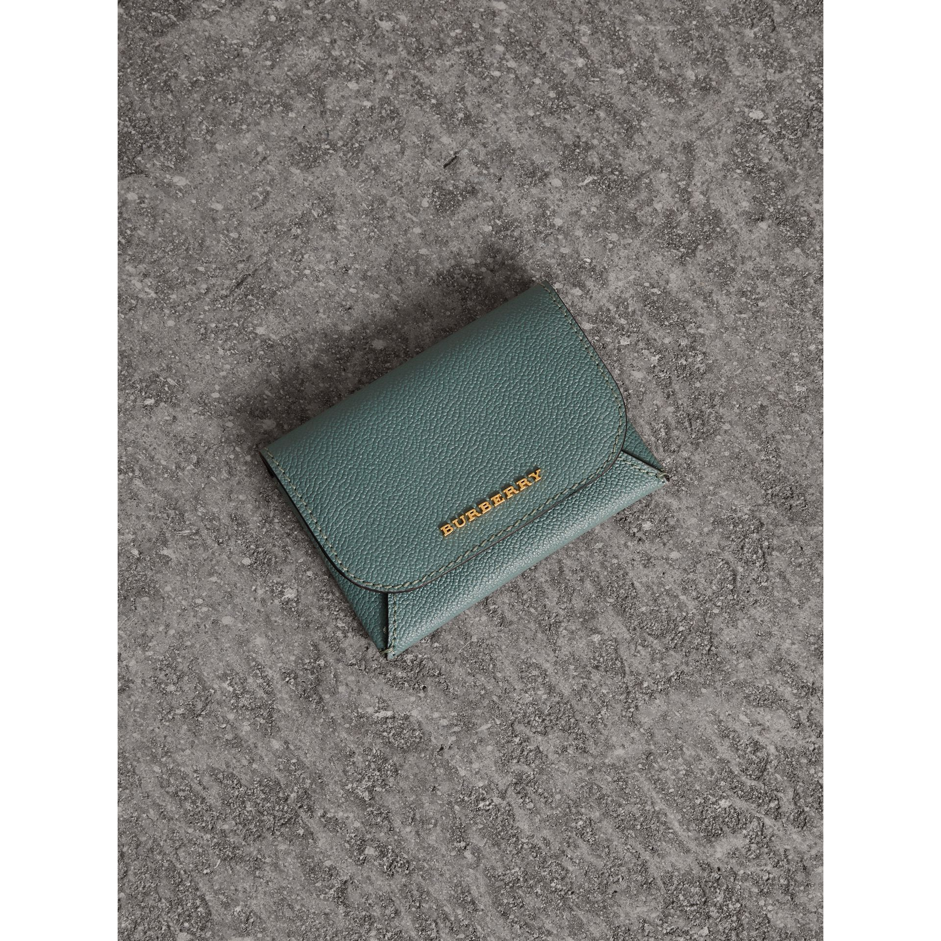Leather Coin Case with Removable Card Compartment in Eucalyptus Green/multi - Women | Burberry - gallery image 1