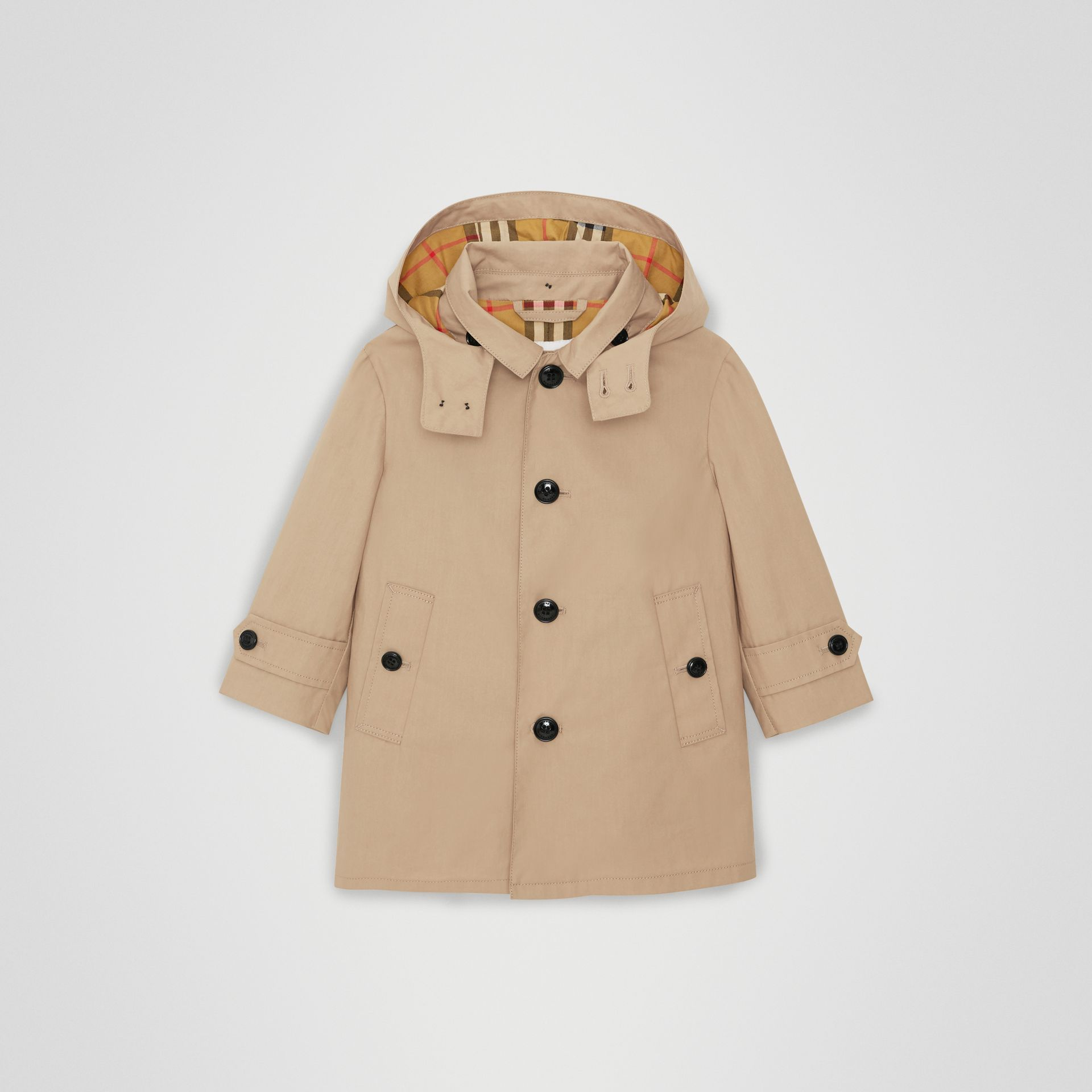 Detachable Hood Cotton Car Coat in Honey - Children | Burberry United Kingdom - gallery image 0