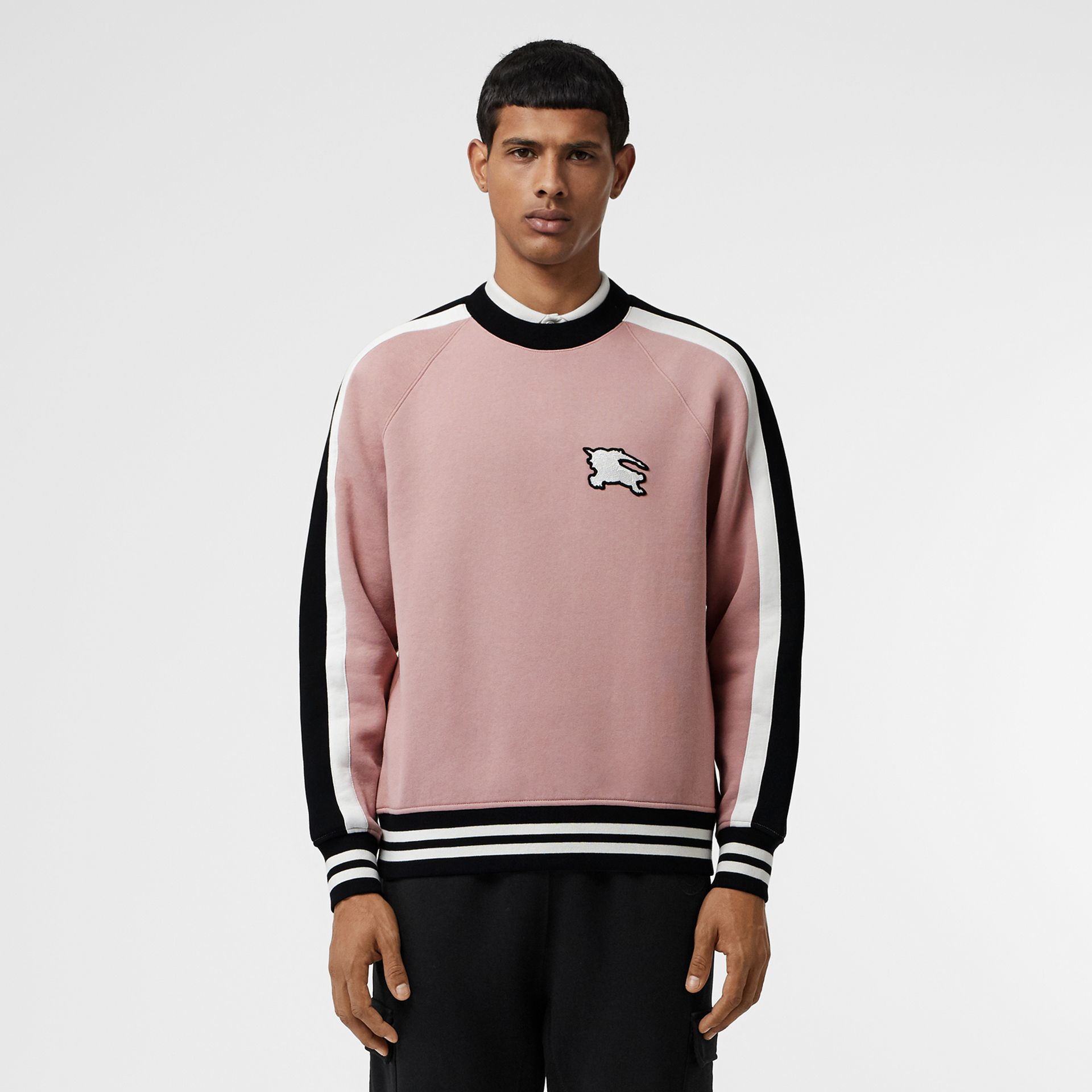 Stripe Detail Cotton Jersey Sweatshirt in Pale Orchid - Men | Burberry United Kingdom - gallery image 4