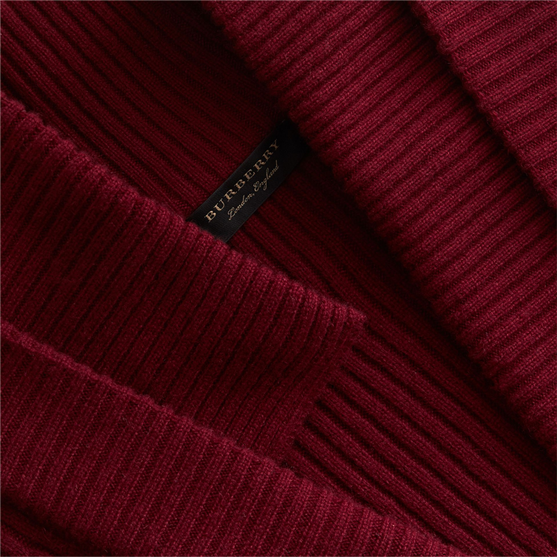 Knitted Wool Cashmere Military-inspired Jacket in Bordeaux - Women | Burberry Singapore - gallery image 2