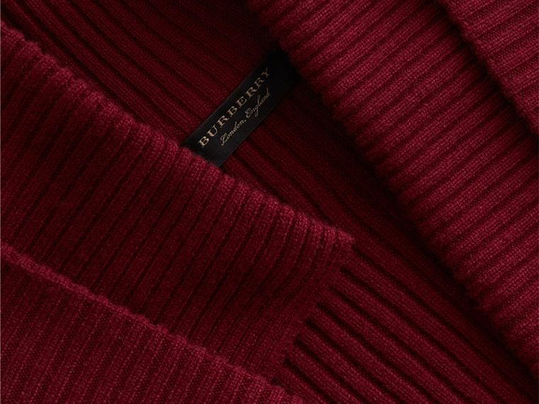 Knitted Wool Cashmere Military-inspired Jacket in Bordeaux - Women | Burberry Australia - cell image 1