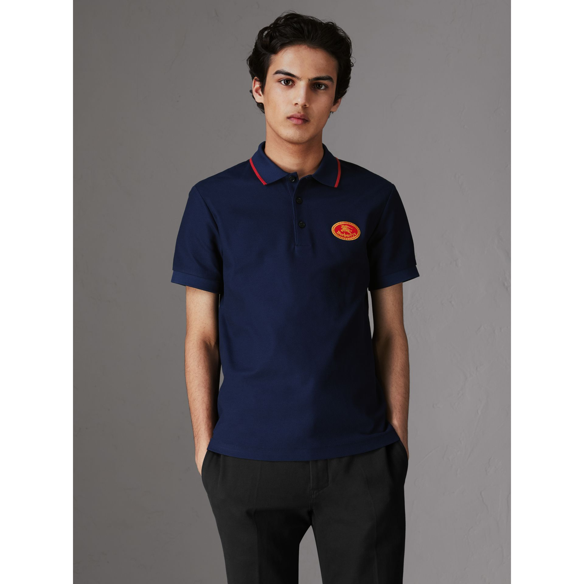 Archive Logo Cotton Piqué Polo Shirt in Navy - Men | Burberry - gallery image 0