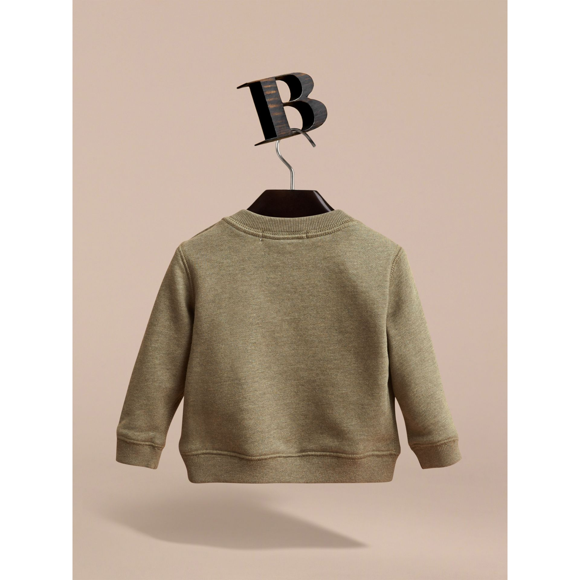 Embroidered Cotton Jersey Sweatshirt in Khaki Green Melange | Burberry Australia - gallery image 3
