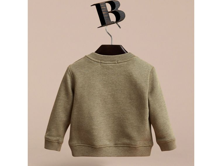 Embroidered Cotton Jersey Sweatshirt in Khaki Green Melange | Burberry Australia - cell image 2