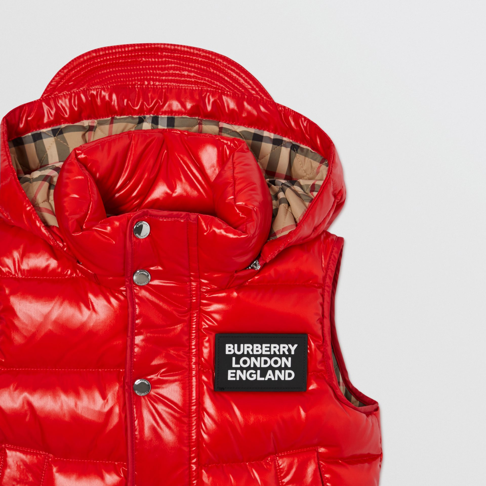 Detachable Hood Nylon Puffer Gilet in Pillar Box Red | Burberry Canada - gallery image 5