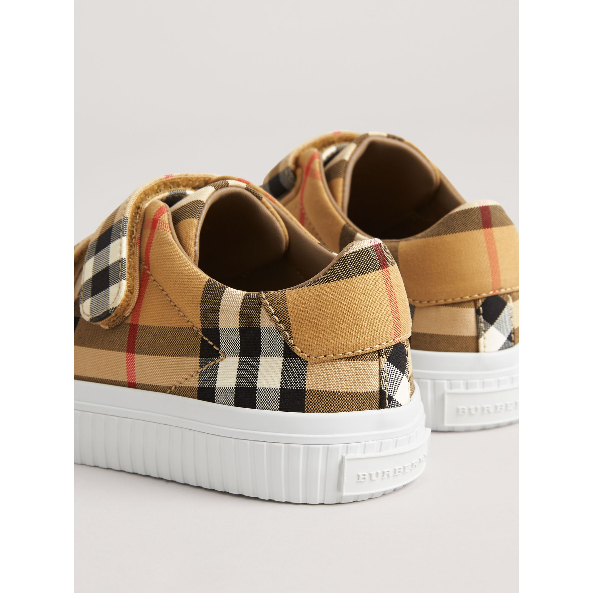 Vintage Check and Leather Sneakers in Antique Yellow/optic White | Burberry Australia - gallery image 2