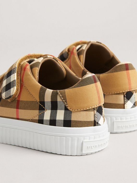Vintage Check and Leather Sneakers in Antique Yellow/optic White | Burberry Australia - cell image 2