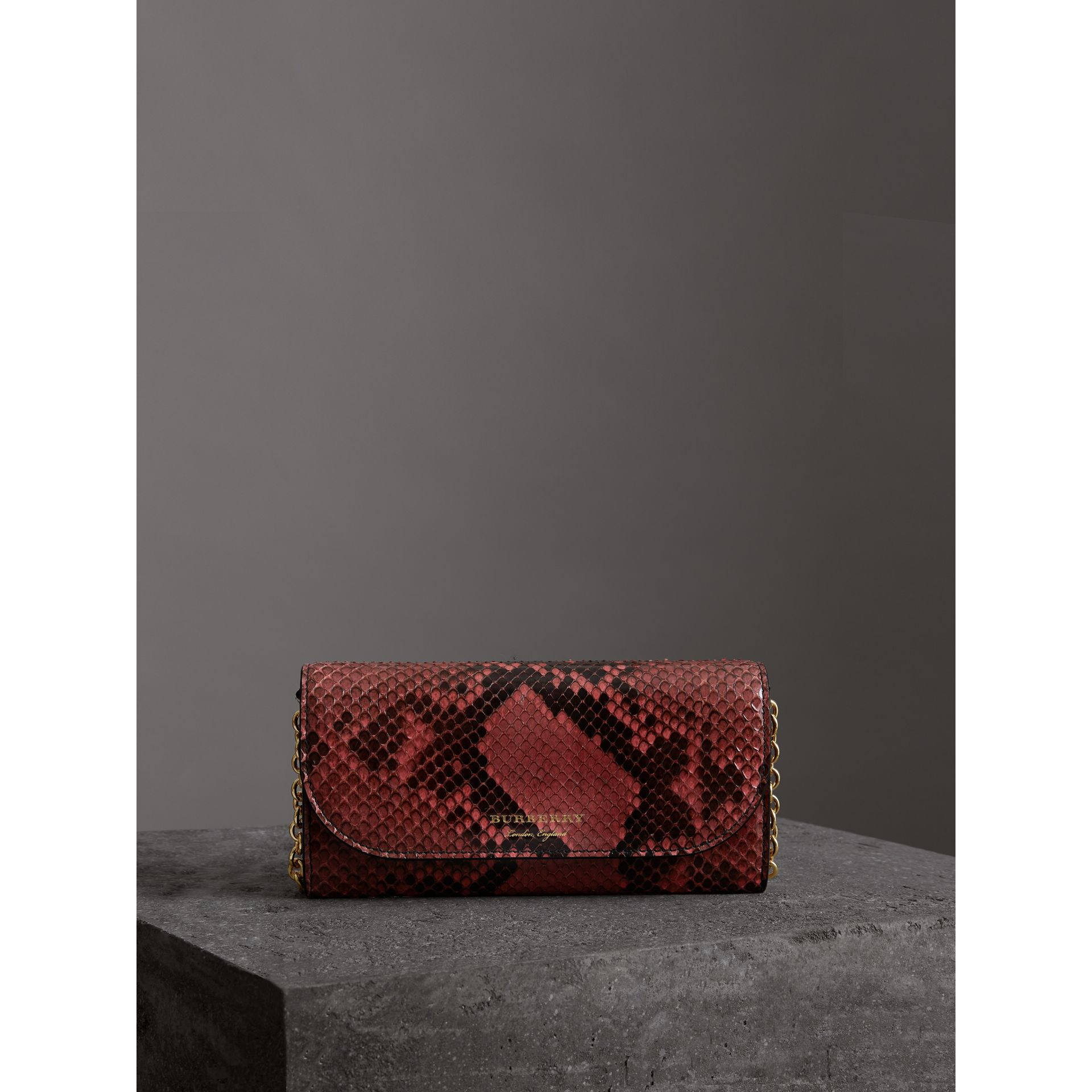 Python Wallet with Chain in Peony - Women | Burberry United Kingdom - gallery image 4