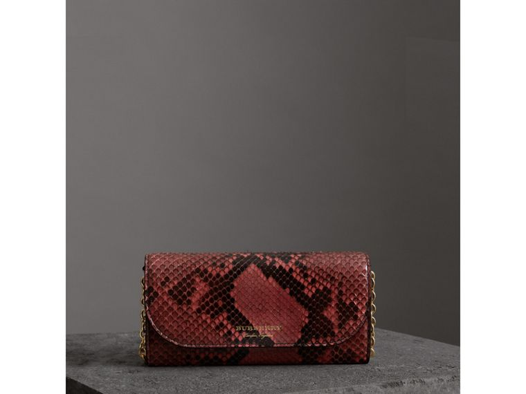 Python Wallet with Chain in Peony - Women | Burberry - cell image 4
