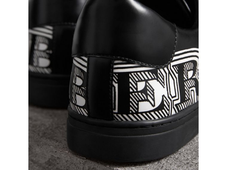 Doodle Print Leather Sneakers in Black - Men | Burberry - cell image 1