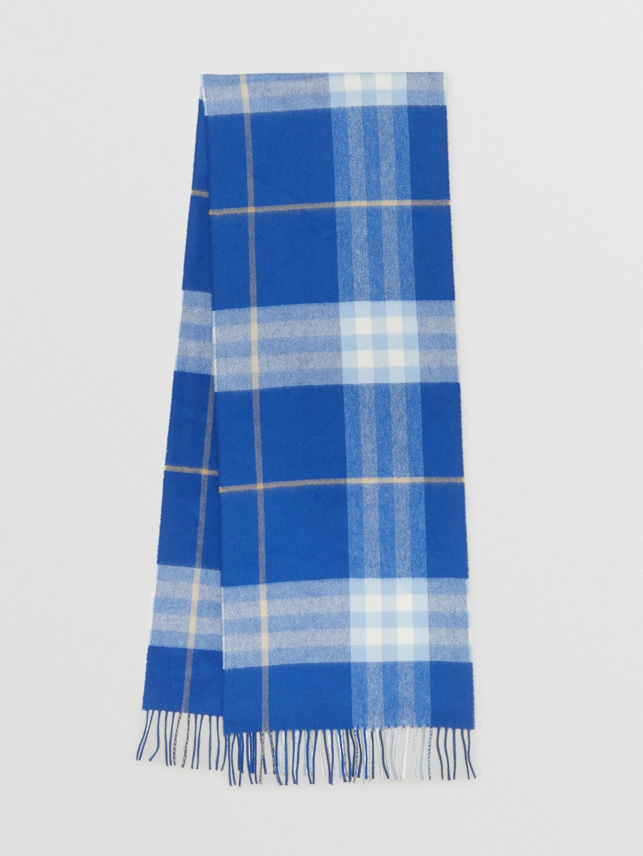 The Classic Check Cashmere Scarf in Inky Blue/bluebell