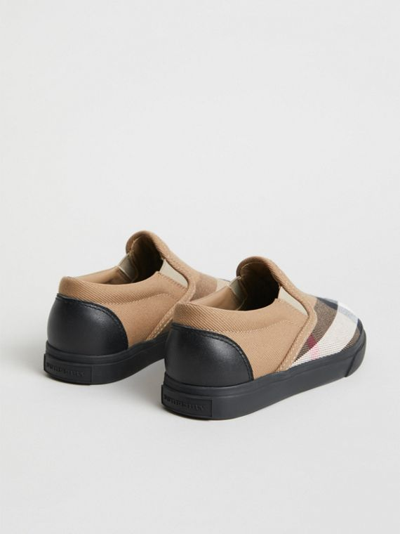 House Check and Leather Slip-on Sneakers in Classic/black | Burberry - cell image 2