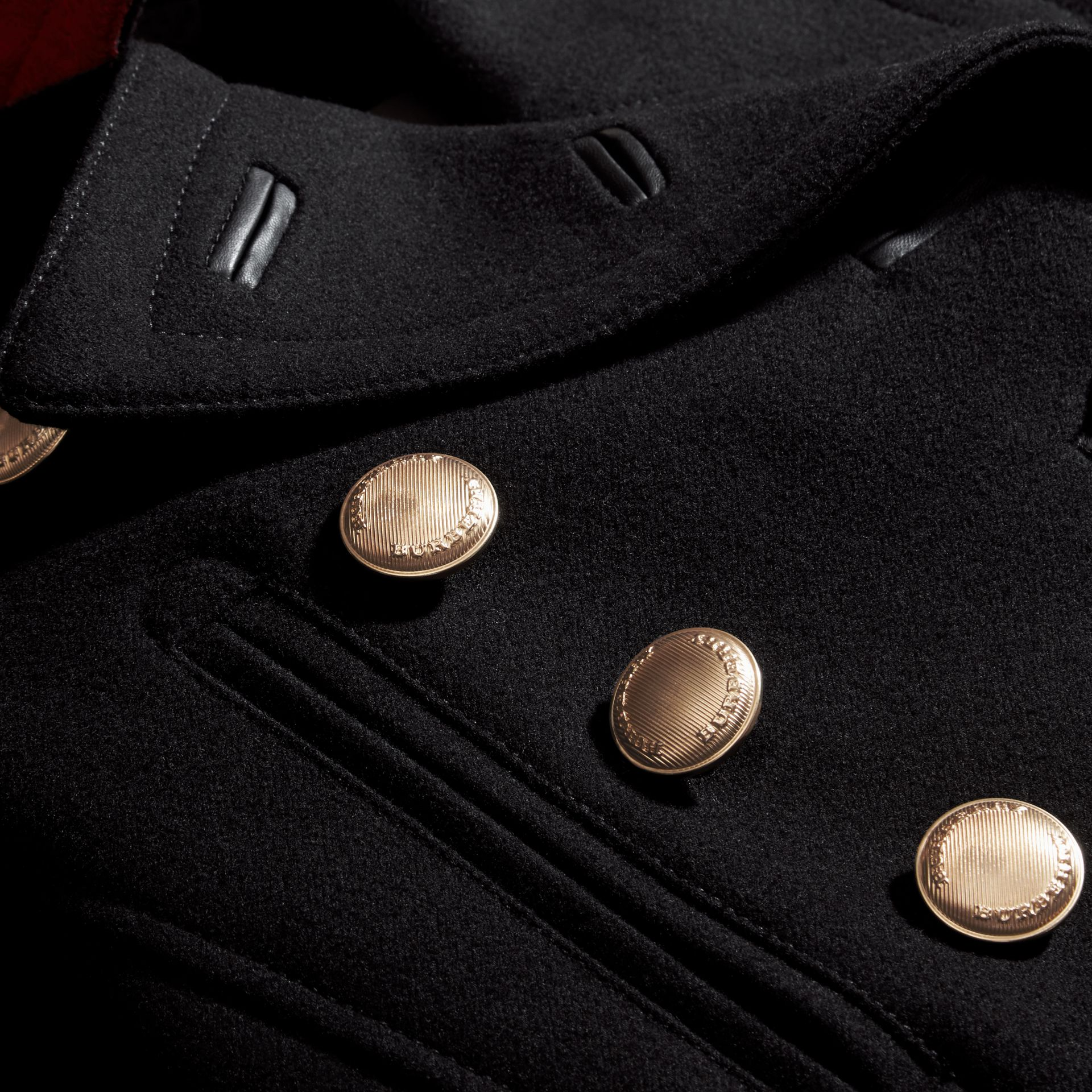 Black Wool Blend Military Pea Coat - gallery image 2