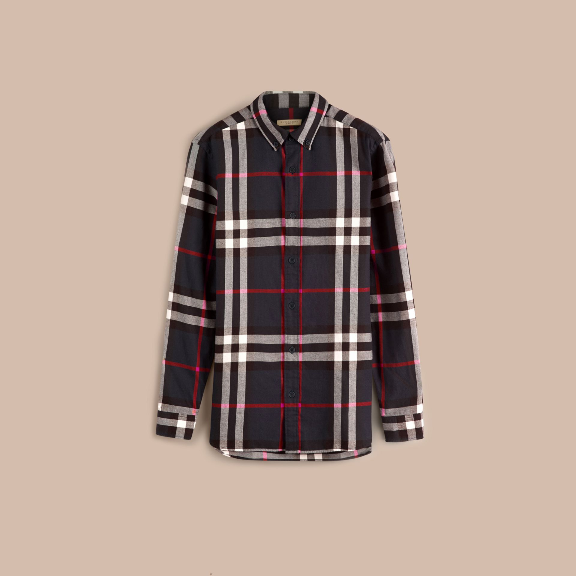 Navy Check Cotton Flannel Shirt Navy - gallery image 4